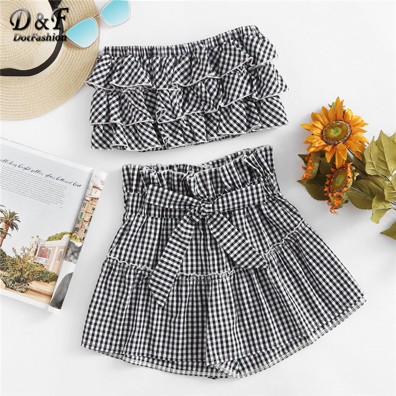 Dotfashion Tiered Frill Gingham Bandeau Top With Shorts Summer Sleeveless Women Sets Ruffle Strapless Two Piece Set