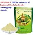 Envío libre 17.6 oz 500 g/lote 100% Natural cosechado salvaje polvo de polen de pino roto-celular 100g * 5 bolsas mejor fábrica del GMP produce