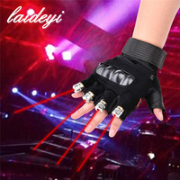 LAIDEYI New 1Pcs Red Green Laser Gloves Dancing Stage Show Light With 4 Pcs Lasers And