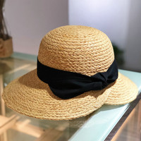 2019 New Fashion Women Raffia Grass Straw folding wide Brim Bucket Hat For Elegant Lady Dome Fedora Lady Sunbonnet Beach Sunhat