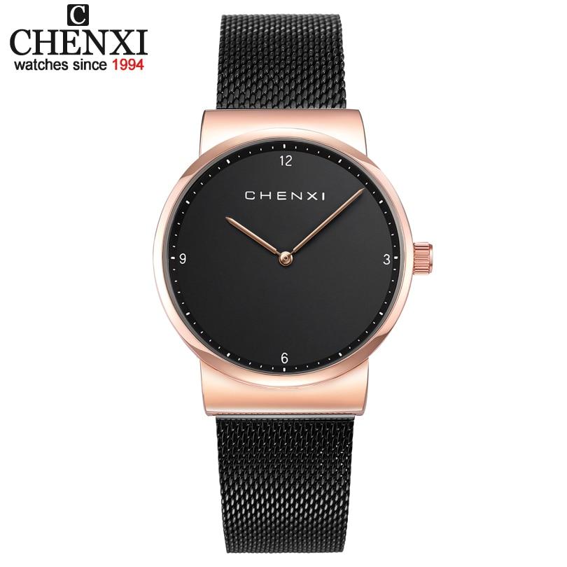 CHENIX Luxury Fashion Ladies Watches 30m Waterproof Black & Rose Gold Watch Women Quartz Watches Casual Clock Relogio Feminino