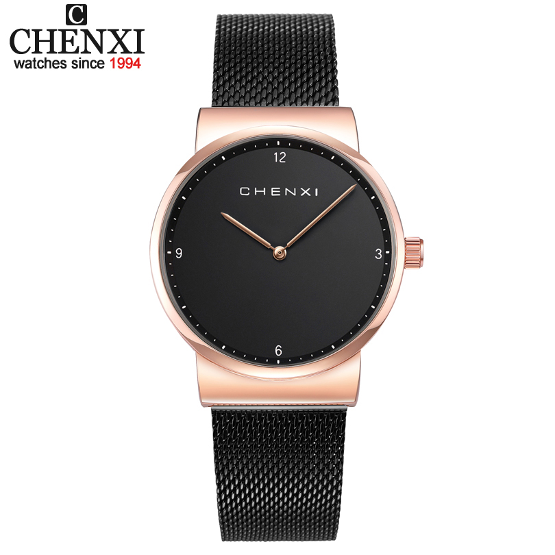 CHENIX Luxury Fashion Ladies Watches 30m Waterproof Black & Rose Gold Watch Women Quartz Watches Casual Clock Relogio Feminino