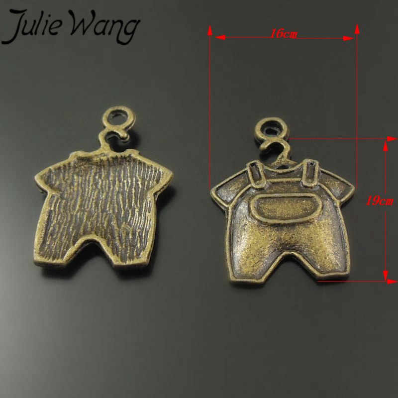 JulieWang 60 ชิ้น/แพ็คสังกะสี Slloy โบราณ Bronze Compact เสื้อผ้าเด็กทารก Bib สไตล์เครื่องประดับเครื่องประดับจี้สำหรับแม่