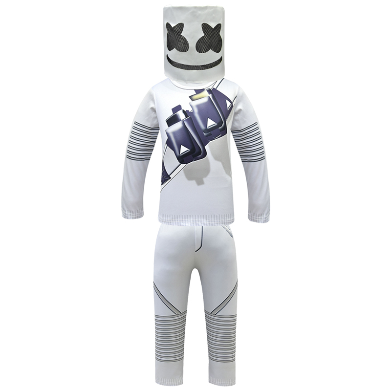 Marshmello Cosplay Costumes Kids Carnaval Halloween Fancy Party Dress Marshmello Masks  Sweater Music Fans Bars Prop