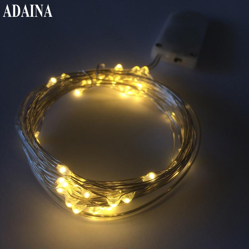 CR2032 50 LED- ები სპილენძის მავთულის შუქები 16Ft / 5M ვერცხლის სიმებიანი შუქისთვის საშობაო შუქისთვის LED Garland Strip საშინაო წვეულების დეკორაციის ნათურა