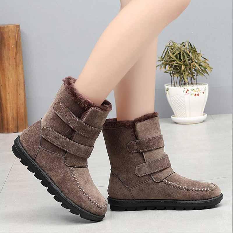 71e8c139ea71 De D hiver Plus Neige 43 bleu Automne La Noir Fourrure Mode Chaussures  mollet marron Bottes Printemps Mi Talons Femmes Boot Chaud ...