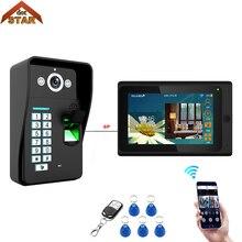 Беспроводной дверной звонок, Wi-Fi, отпечаток пальца, RFID, пароль, видео-телефон двери, дверной звонок, домофон, система входа 1000TVL, уличная камера+ пульт дистанционного управления