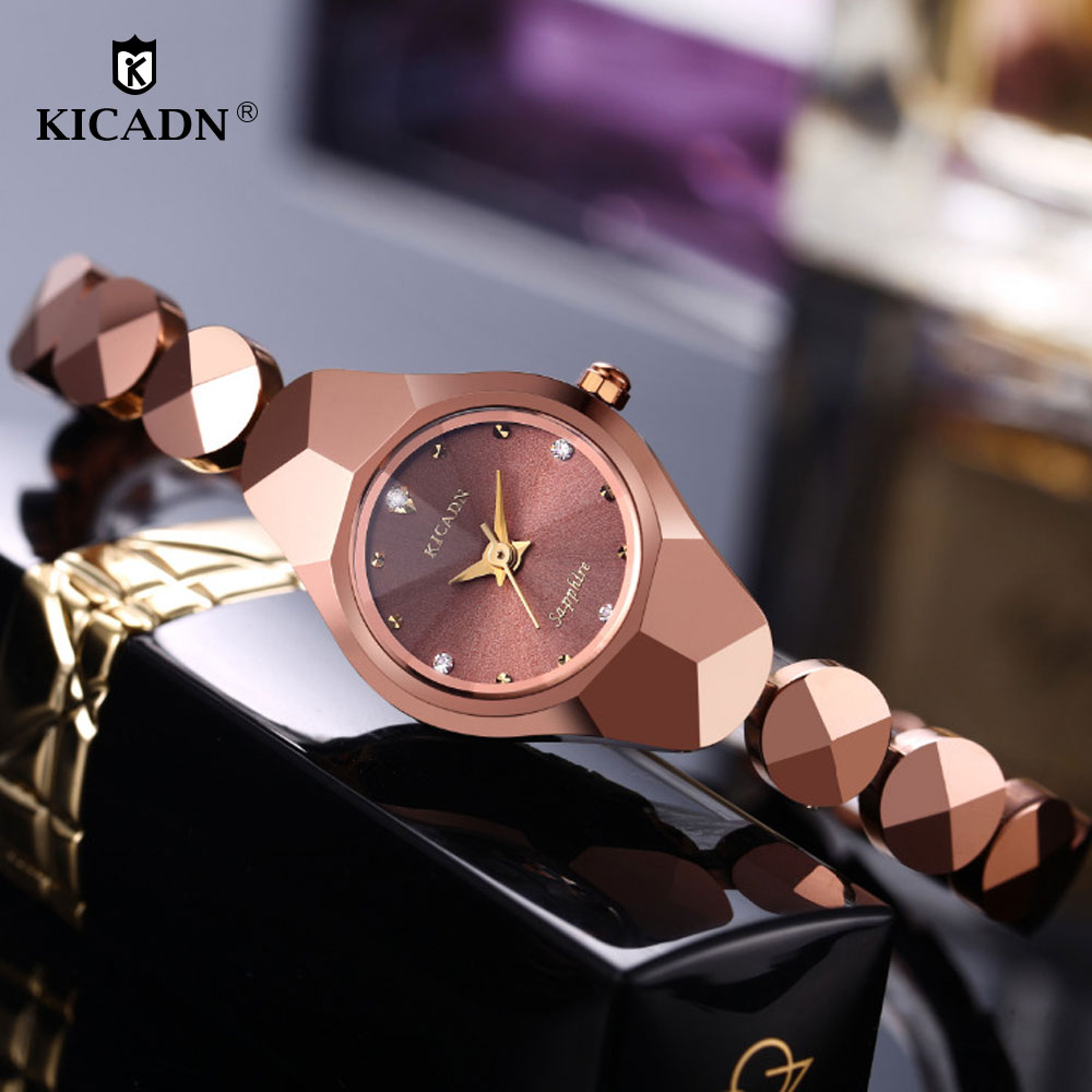 KICADN Women Tungsten Bracelet Quartz Watch 2018 Ladies Fashion Small Watches Woman Elegant Diamond Luxury Clock Bayan Kol Saati
