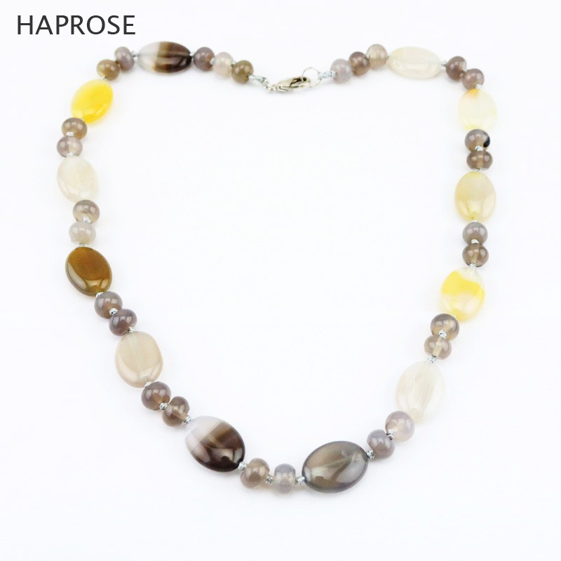 Ethnic Agate Necklace Fashion Boutique Jewelry Agate Necklace Multicolor Round Gray Agate Beads Sequins Necklace Friends Gifts