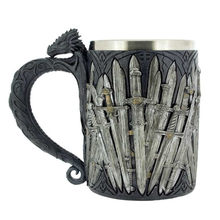 Game of Thrones Dragon Iron Sword Coffee Mugs Stainless Steel Resin Cups and Mugs Creative Drinkware Mark(China)
