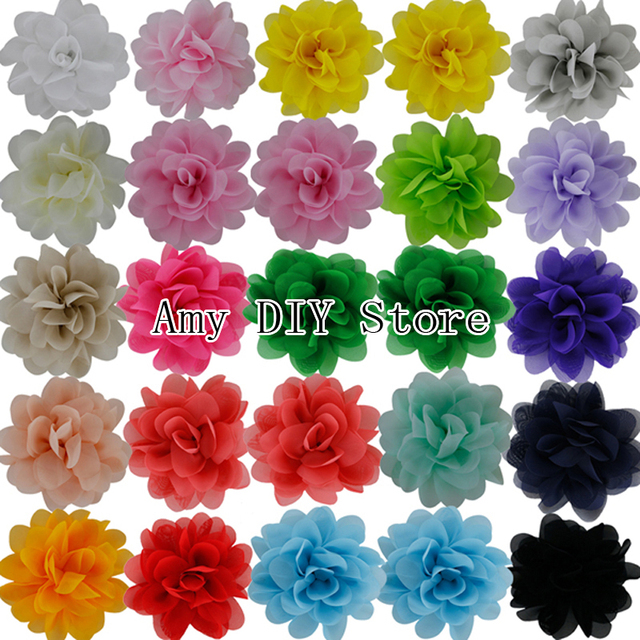 Free Shipping 60pcs/lot 4.5'' Multilayer Chiffon Silk Flowers Top Petti Skirt Boutique Hair Flowers Girls Hair Accessories
