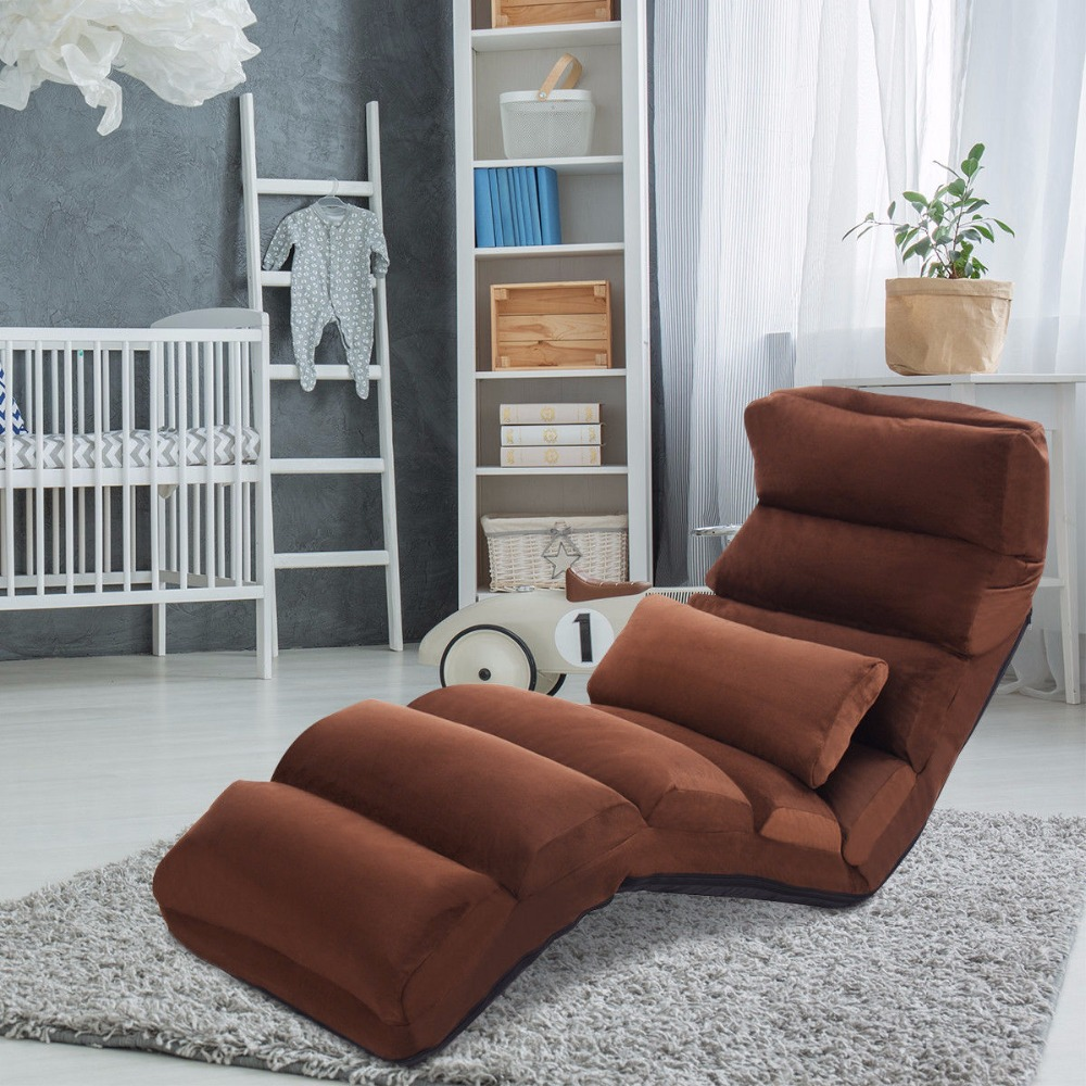 Giantex Folding Lazy Sofa Chair Stylish Sofa Couch Beds Lounge Chair W/Pillow Coffee New Home Furniture HW53981CF
