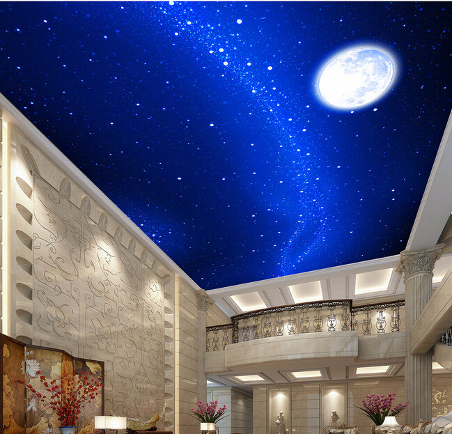 Custom photo wallpaper, the space star moon for the living room hotel KTV ceiling background wall waterproof papel de parede