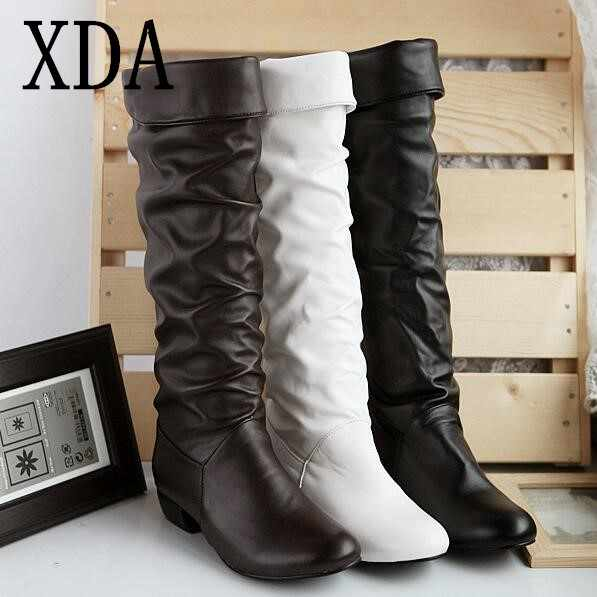 XDA 2019 Autumn winter long Knight Boots NEW style women flat low heel knee-high casual boots fashion round head women shoes
