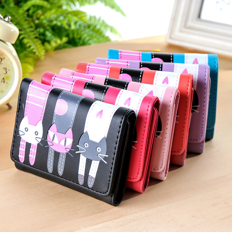 New Lovely Cats Print Wallets Purse 3 Fold Leather Women Wallet Mini Card Holder Purse Girls Zipper Multiple Id Cards New Brand new brand colors purse plaid leather zipper wallet cards holder wallet for girls women wallet