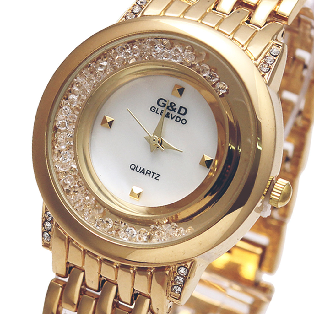 2017 Brand Luxury G&D Women Quartz Wristwatch Gold Stainless Steel Band Relojes Mujer Fashion Lady Dress Watch relogio feminine baosaili famous brand women quartz analog watches gold stainless steel wristwatch hollow lady gift relojes luxury hodinky clock