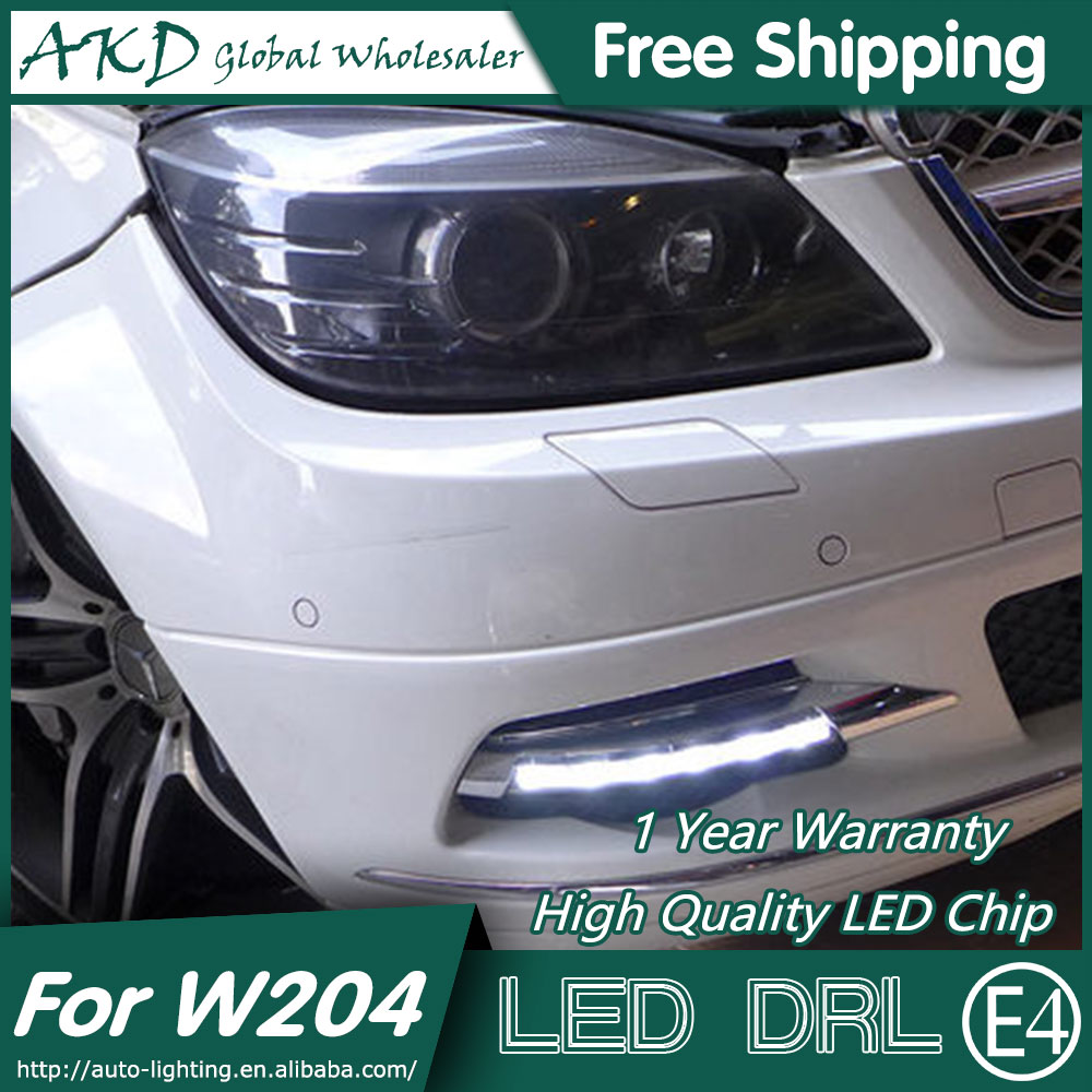 AKD Car Styling LED Fog Lamp for Benz W204 DRL 2010-2012 C200 LED Daytime Running Light Fog Light Parking Signal Accessories hot sale abs chromed front behind fog lamp cover 2pcs set car accessories for volkswagen vw tiguan 2010 2011 2012 2013