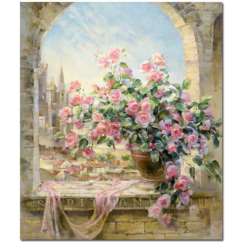 Frameless landscape wall decor diy oil painting by numbers for How to make canvas painting