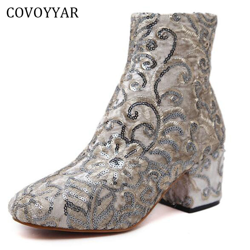 COVOYYAR 2019 Fashion Embroidered Boots Women Autumn Winter Embroider Flower Studded Ankle Booties White/Black Shoes WBS336
