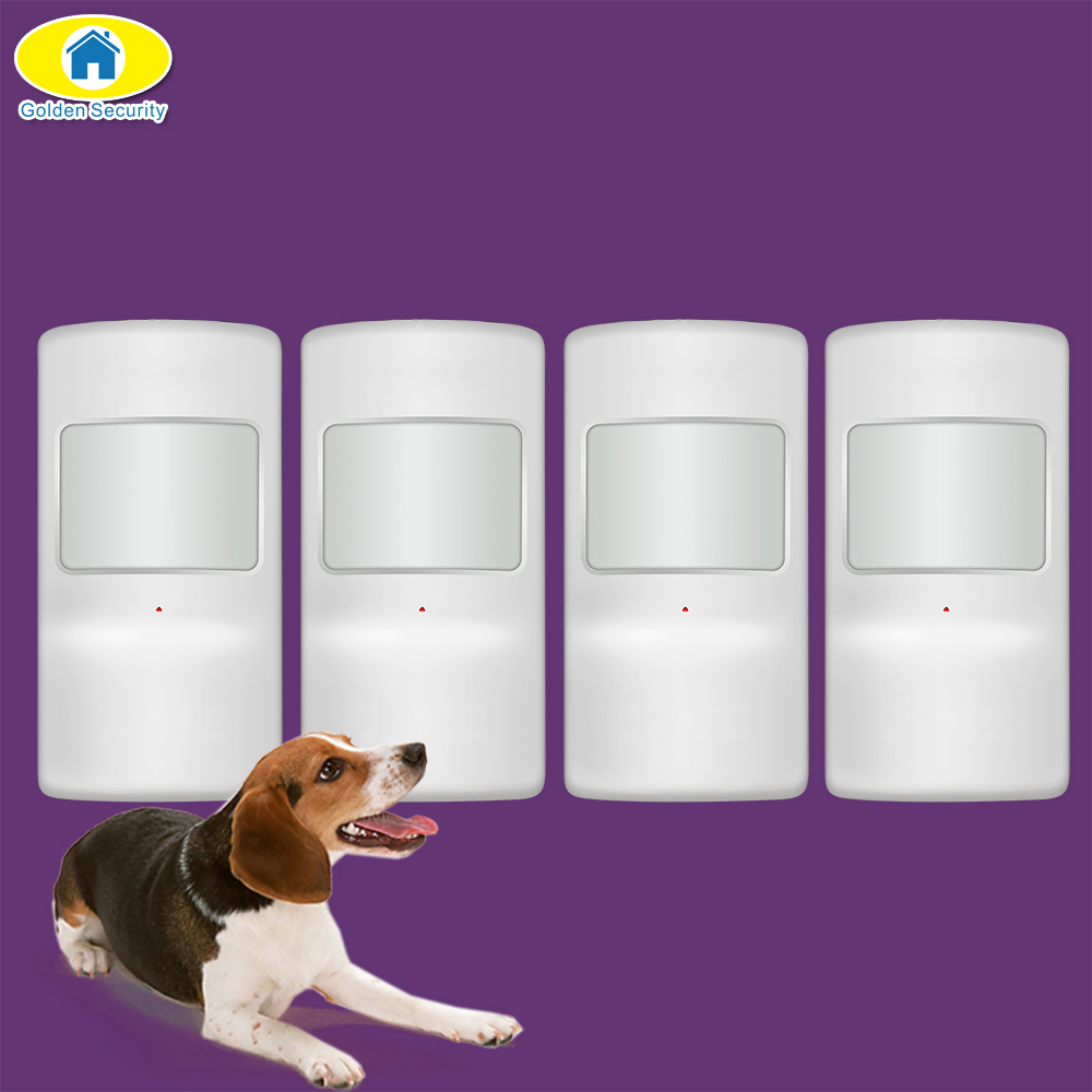 Golden Security 4Pcs Wireless Pet Immune Pir Motion Sensor For G90B Plus S5 WiFi GSM Home Alarm System Security GS-WMS08