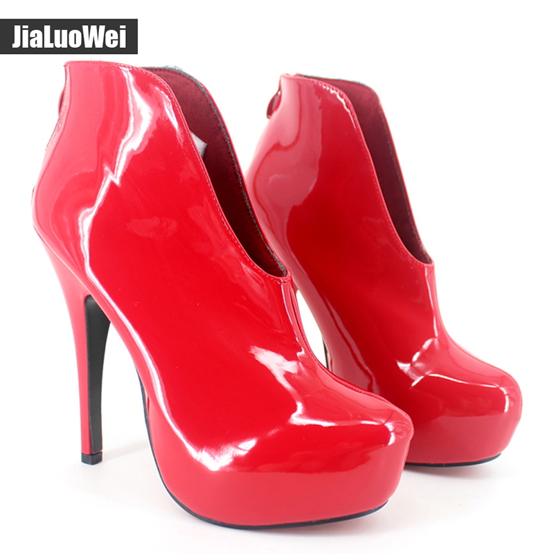 jialuowei 15cm Thin High Heels Sexy Fetish Pointed toe Platform Slip-On Ankle Short Boots Summer Boots Shoes Spring Woman Shoes muffin wedge high heel stretch women extreme fetish casual knee peep toe platform summer black slip on creepers boots shoes