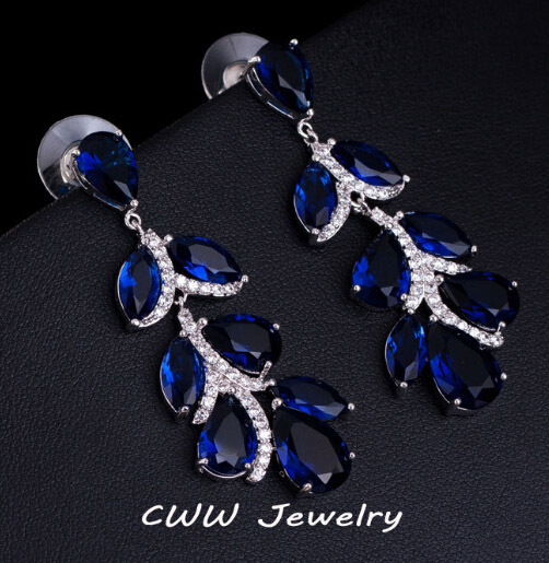 Cwwzircons Top Quality Female Cz Stone Dark Blue Crystal Long Leaf Dangle Earrings For Women Party Jewelry Cz259 In Drop From