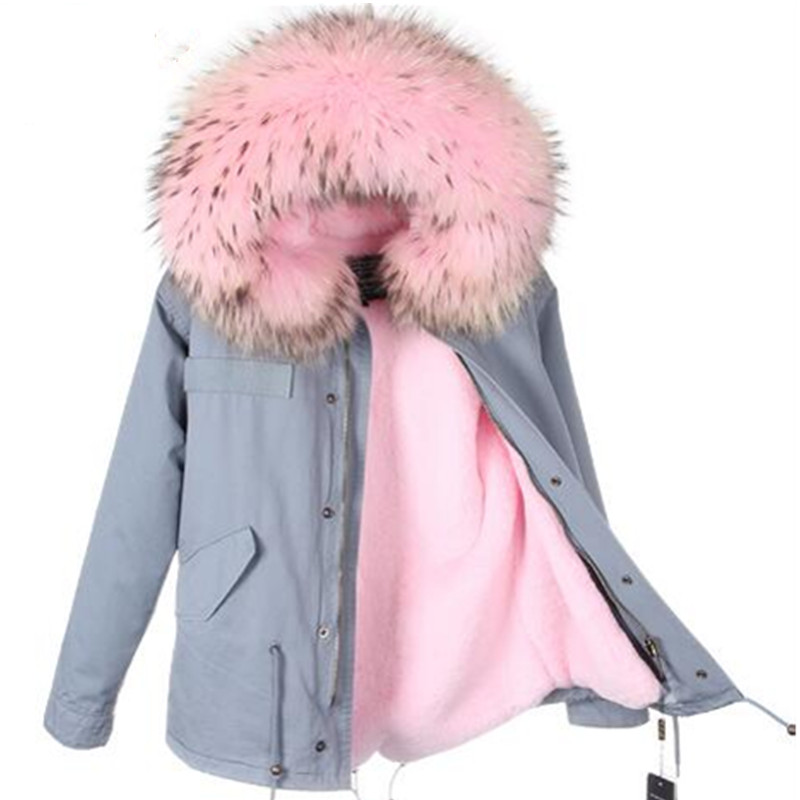 2016 New Lady Parkas Female Jacket Real Large Raccoon Fur Winter Coat Women Jacket Coats Collar Thicken Warm Padded Cotton