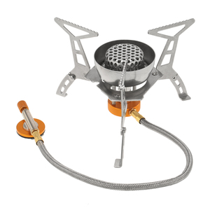 Image 2 - Lixada חיצוני קמפינג 3200W כוח גדול Windproof כיריים גז בוטאן מבער נייד מתקפל פיצול תנור עם 9 צלחת שמשות