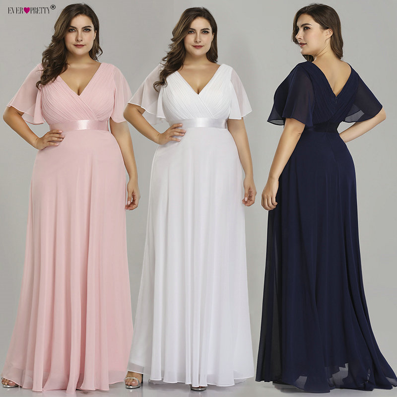 Plus Size Evening Dresses Ever Pretty V-neck Nay Blue Elegant A-line Chiffon Long Party Gowns 2019 Short Sleeve Occasion Dresses