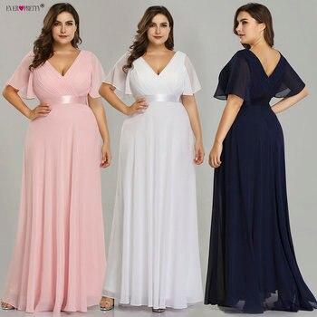 6381314a9f Plus tamaño Rosa vestidos largos De baile bonito cuello en V gasa vestido  traje De fiesta 2019 azul marino Formal vestidos fiesta para las mujeres