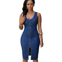 Mulheres casuais denim vestidos de verão na altura do joelho sem mangas dress para as mulheres moda azul dividir vestidos de escritório do sexo feminino em linha reta