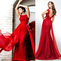 BacklakeGirls Newest Red Mermaid Evening Dress With Strip Belt Elegant Formal Lace Party Gown Long Ever