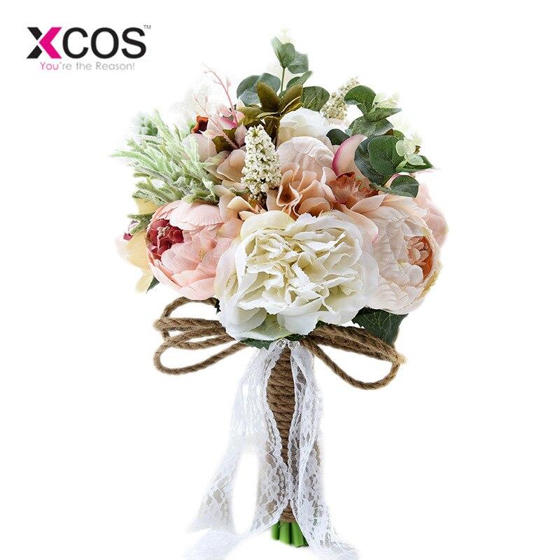 XCOS New Camellias Wedding Bouquet Plants Floral Bouquet Gift Lace Handle Keepsake Bouquet Garden Theme Wedding Flowers