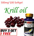 (Buy 3 Get 1 Free)RED Krill Oil 100 Capsules HIGH-500 MG Omega-3 Fatty Acids-EPA-DHA Astaxanthin