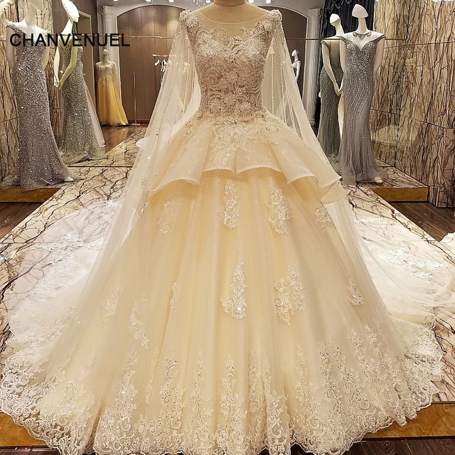 LS84325 Luxury Wedding Dress Models Lace Ball Gown Corset Back Wedding Gowns  2017 With Long Cape