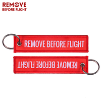 100 PCS Before Flight Woven Key Ring Special Luggage Tag Label Red Keychain for Aviation Gifts OEM Keychain