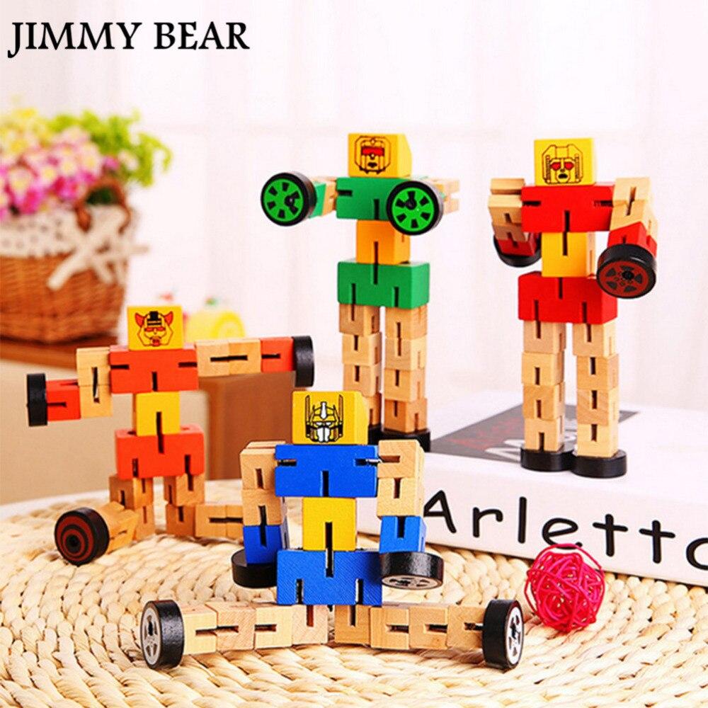 JIMMY BEAR 1 Pcs Kids Brain Train Handmade DIY Deformable Wooden Distortion Robot Toy Baby Children Educational Toys