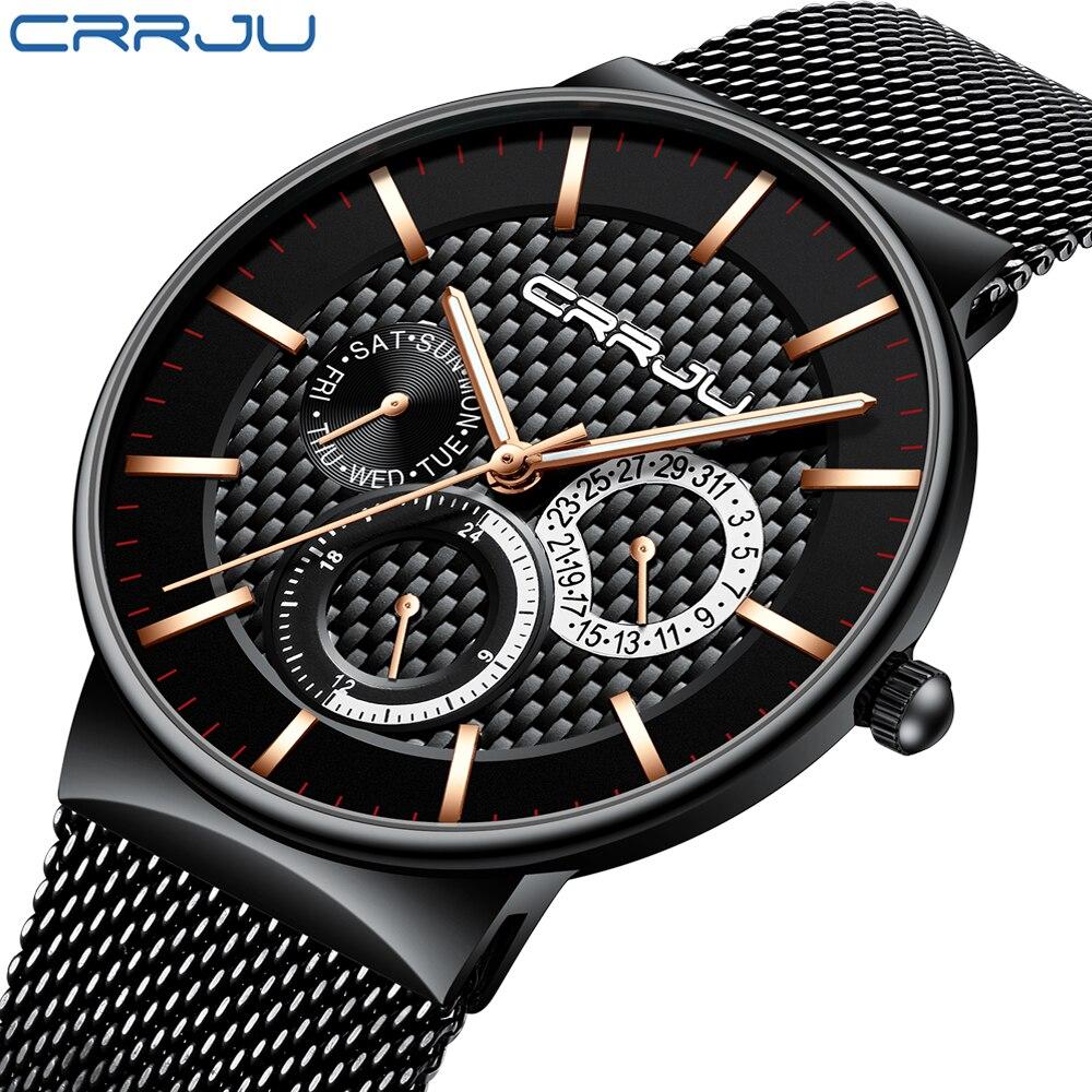 Homens Relógios CRJU Luxo Famosos Dos Homens Marca de Topo Moda Casual Dress Watch Militar relógios de Pulso de Quartzo Relogio masculino Saat