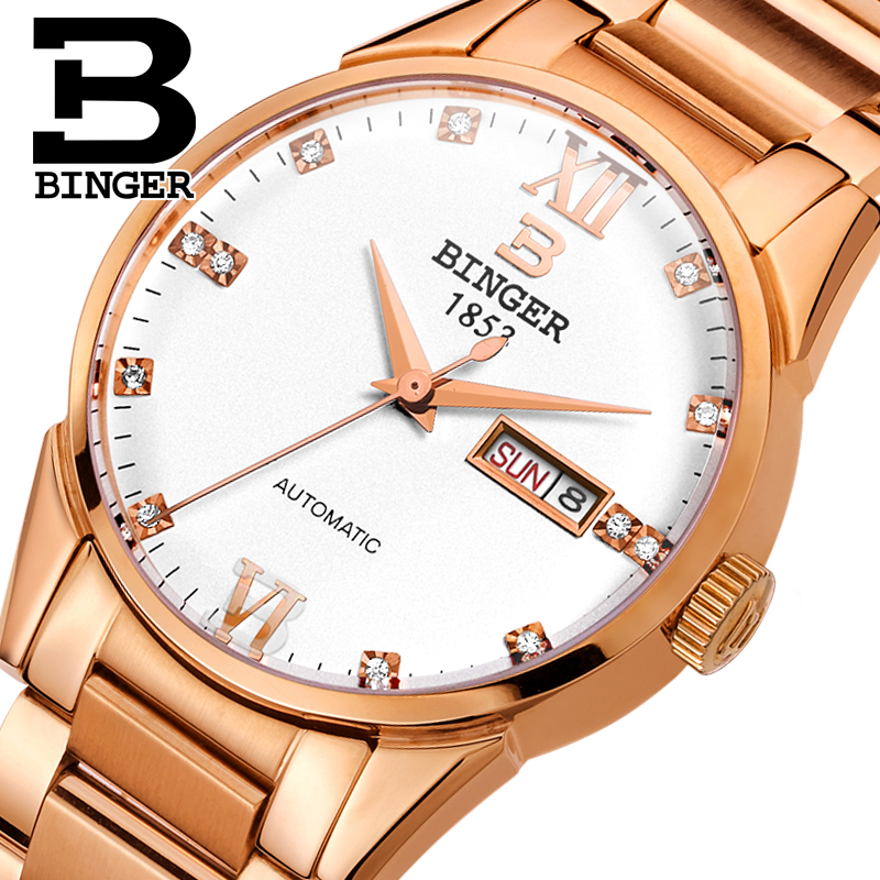 Switzerland men's watch luxury brand Wristwatches BINGER 18K gold Automatic self-wind full stainless steel waterproof  B1128-2 switzerland watches men luxury brand wristwatches binger luminous automatic self wind full stainless steel waterproof b 107m 1