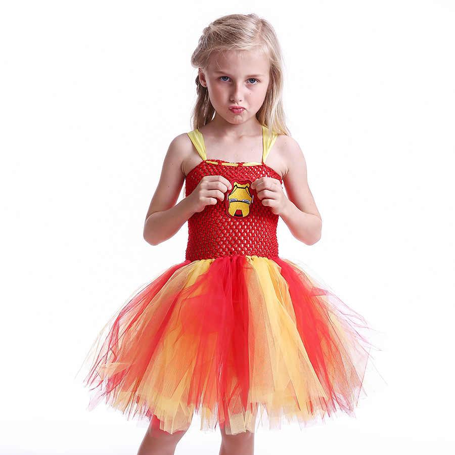 ברזל איש בנות טוטו שמלת קריקטורה תינוק Gril ליל כל הקדושים קוספליי המפלגה שמלת בעבודת יד פנסי Superhero בהשראת ילדי בגדים