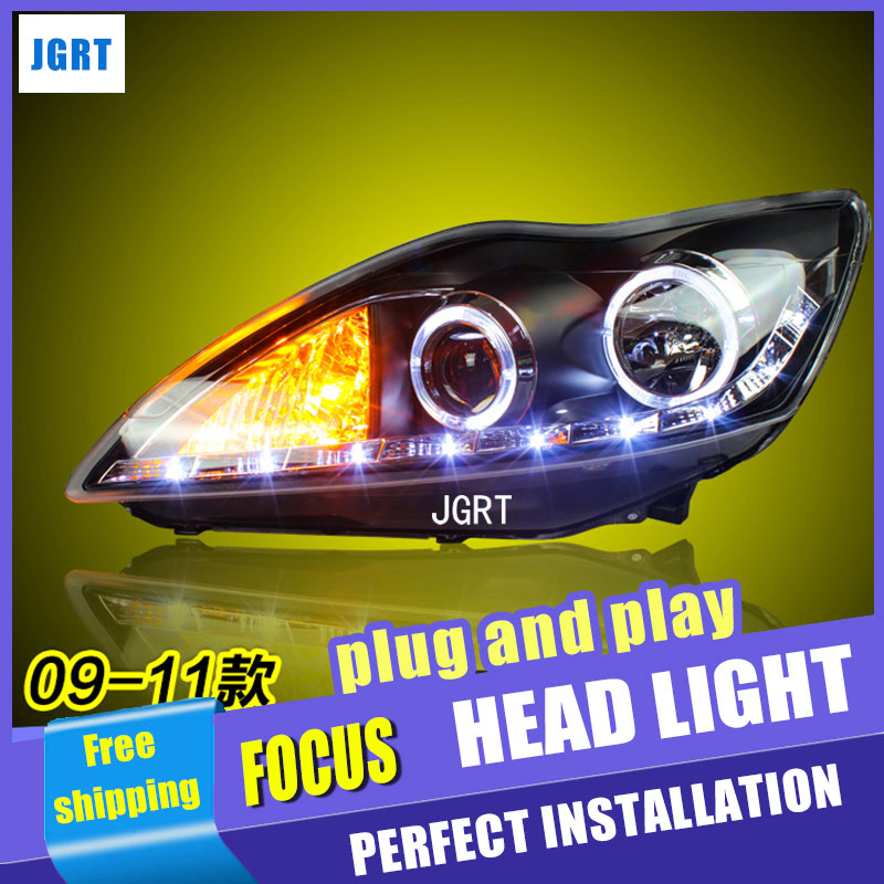 car styling For Ford Focus headlights U angel eyes DRL 2009-2011 For Ford Focus LED light bar DRL bi xenon lens h7 xenon 2009 2011 year for ford for focus 2 led head light with projector lens sn