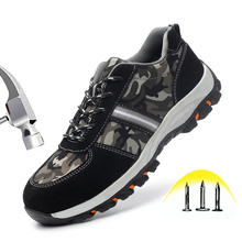 купить Safety Shoes Steel Toe Cap Breathable Leather With Canvas Casual Shoes Labor Insurance Puncture Proof Work Shoes Men дешево
