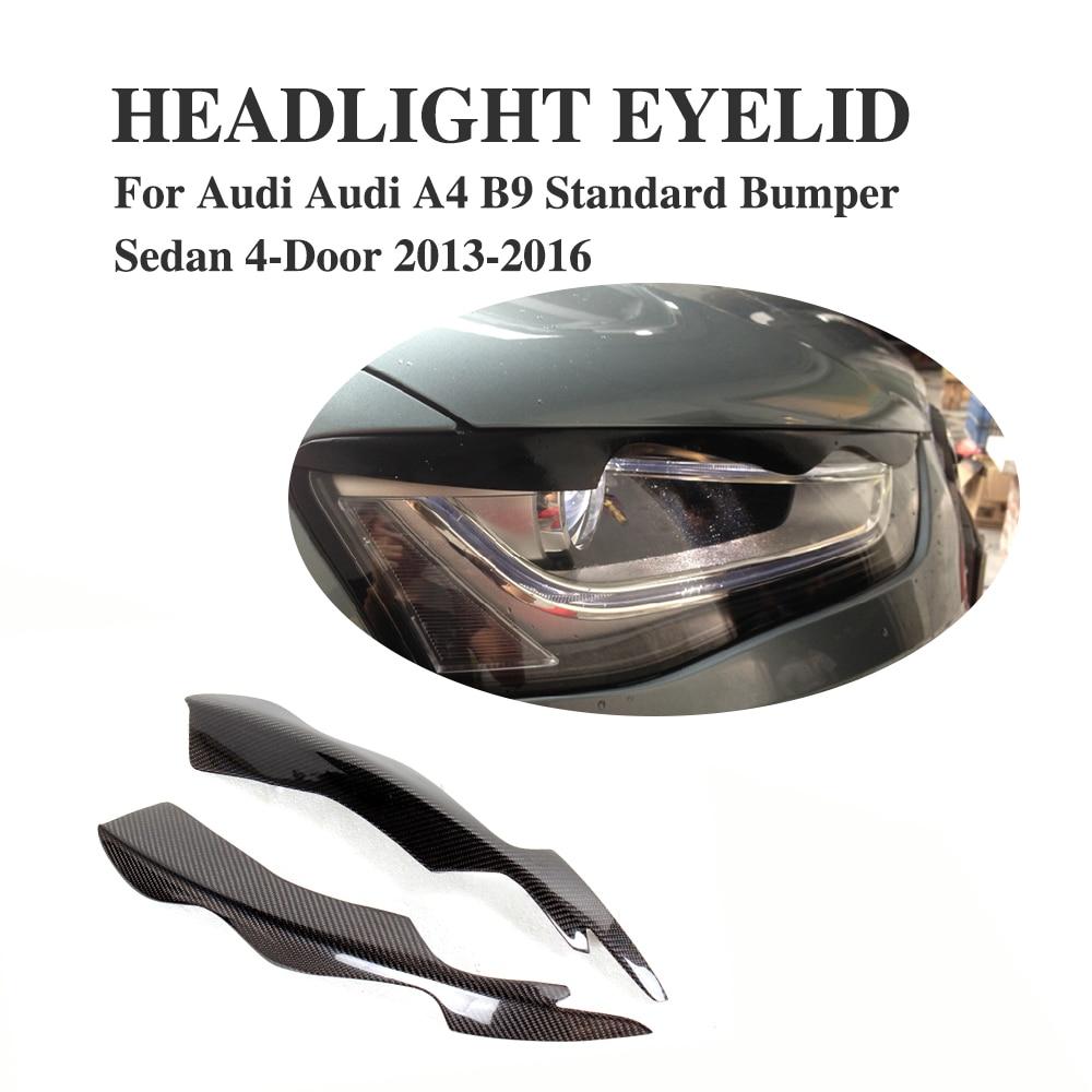 2pcs set carbon fiber front headlight eyelids eyebrows fit for audi a4 b9 non