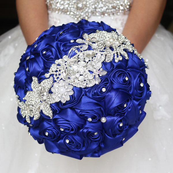 Sapphire blue brooch bouquet Silk Bride Bridal Wedding Bouquet Bridesmaid royal blue Cloth roses Customizable diamond bouquets