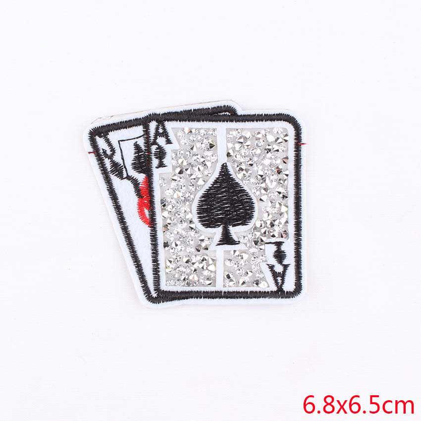 Pulaqi Thêu Dán Miếng Dán Chơi Pokers Thẻ May Trên Sắt-Trên Cánh Tay Huy Hiệu Cho Quần Jean Quần Áo Mũ Kèm Áo H