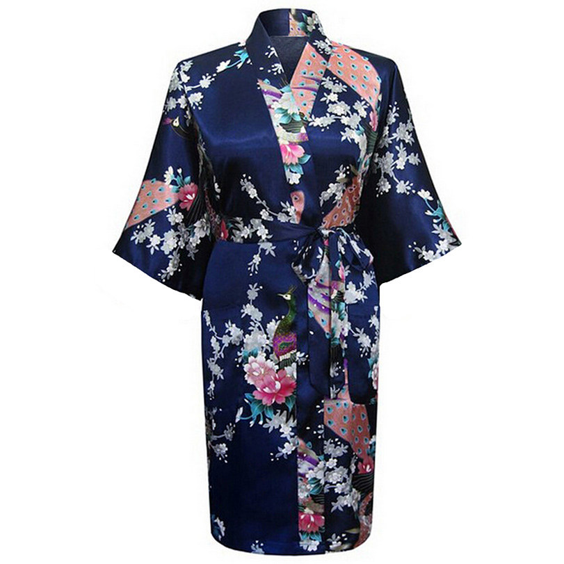 Navy Blue Womens Vintage Faux Silk Bathrobe Casual Night Gown Print Floral Sleepwear Yukata Gown Size S M L XL XXL XXXL