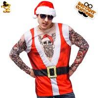 Christmas Tattoo Man T shirt Costume Fancy Dress Red Long Sleeve Imitation Xmas Santa 3 D Printing T shirt Costume