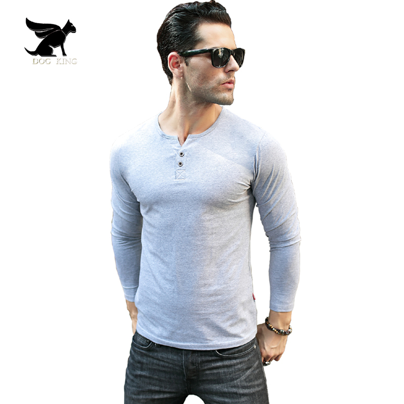 Men s Henley Shirt 2017 Long Sleeve Cotton Tees Slim Fit T shirt homme Button placket
