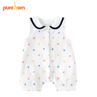 Pureborn Summer Baby Clothes Baby Jumpsuit Newborn Costumes Organic Cotton Cute Sail Boat One Pieces Coveralls
