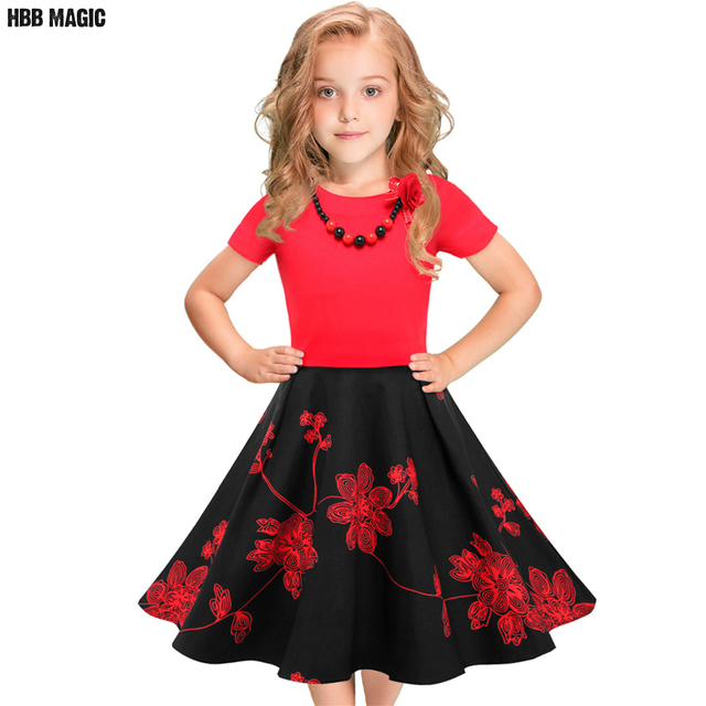c8a584acd2bd Floral Flowers Print Dress Girls Summer Clothes Red with Black Short ...